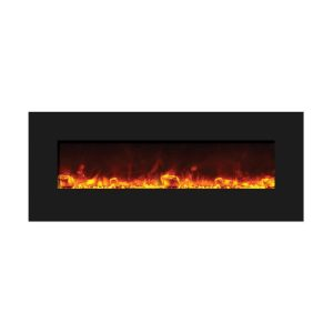 amantii 58 inch contemporary electric fireplace wall insert with orange flames and large glass nuggets