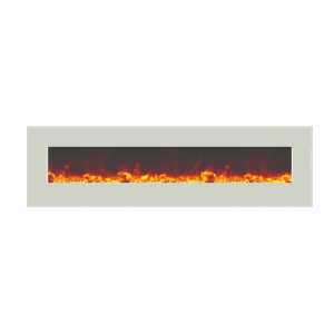 amantii 72 inches wide contemporary electric fireplace with white glass surround and glass ember media