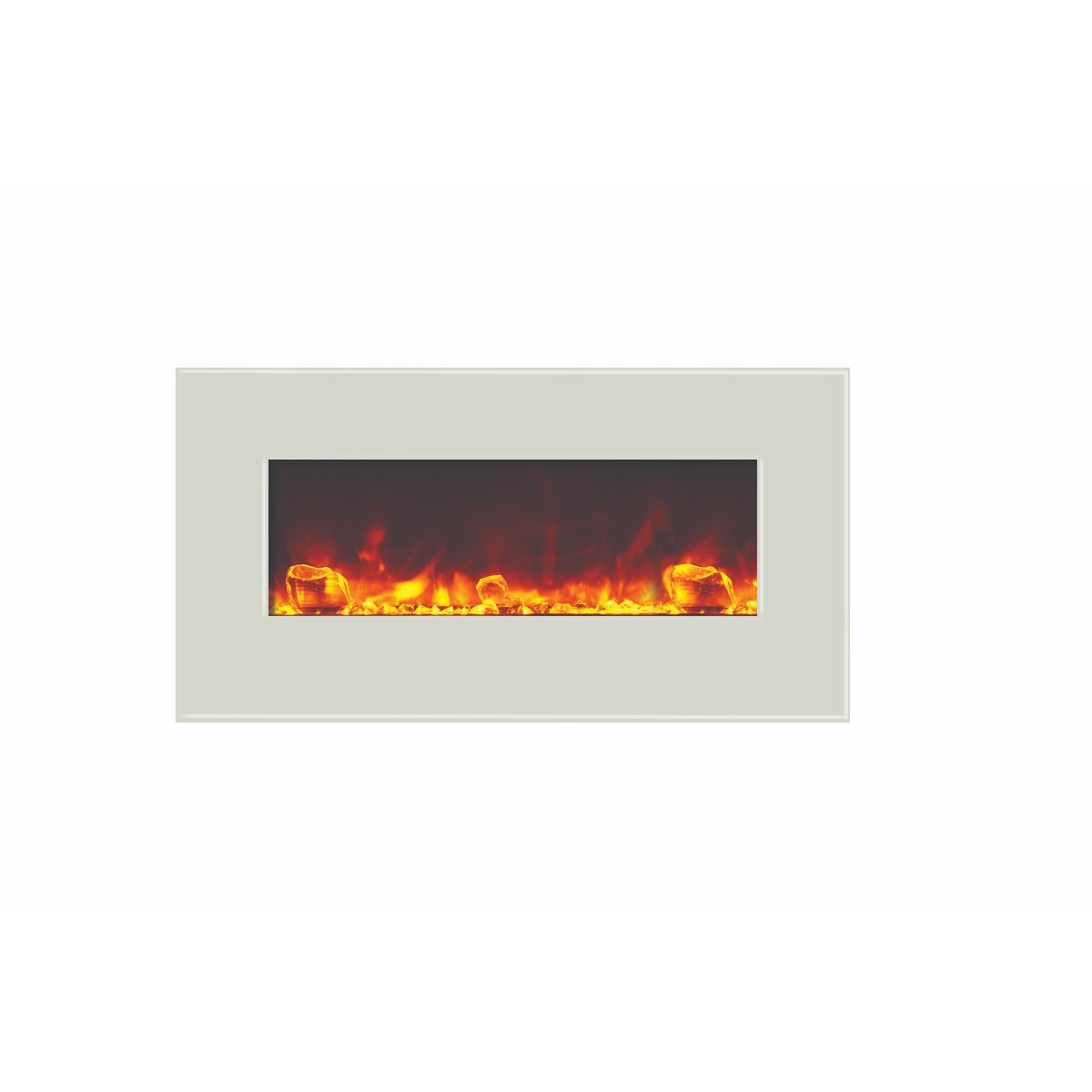 amantii 34 inches wide contemporary electric fireplace with white glass surround final sale no returns