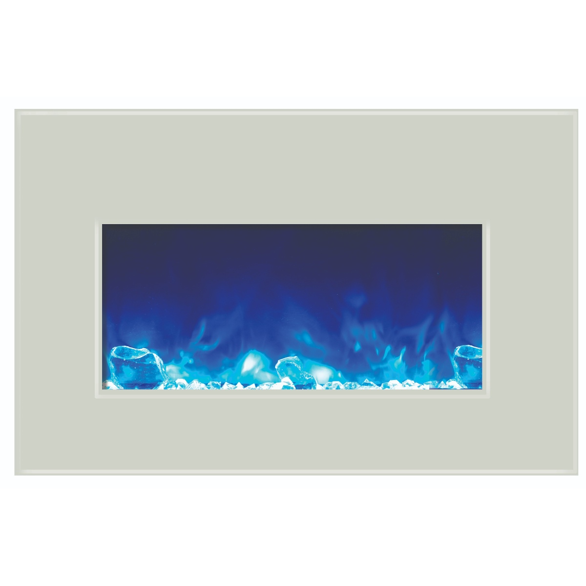 amantii 30 inch contemporary electric fireplace insert white glass surround with embers and blue flames
