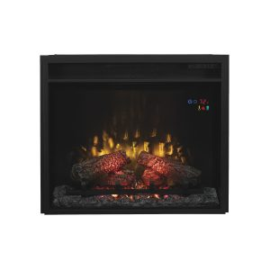 Classic Flame electric fireplace insert with flames and thermostat display