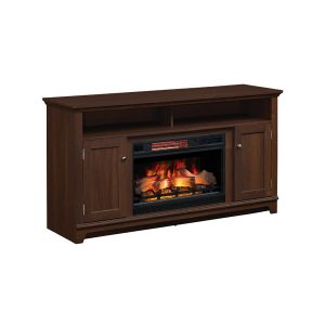 Classic Flame Eldersburg TV stand with open shelves and cabinets and electric fireplace insert with logs 26II042FGL
