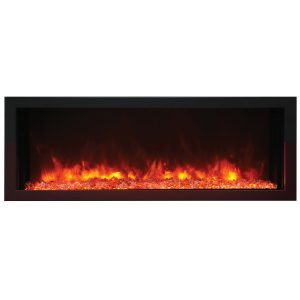 remii 45 inch contemporary electric fireplace with glass embers and orange flame on