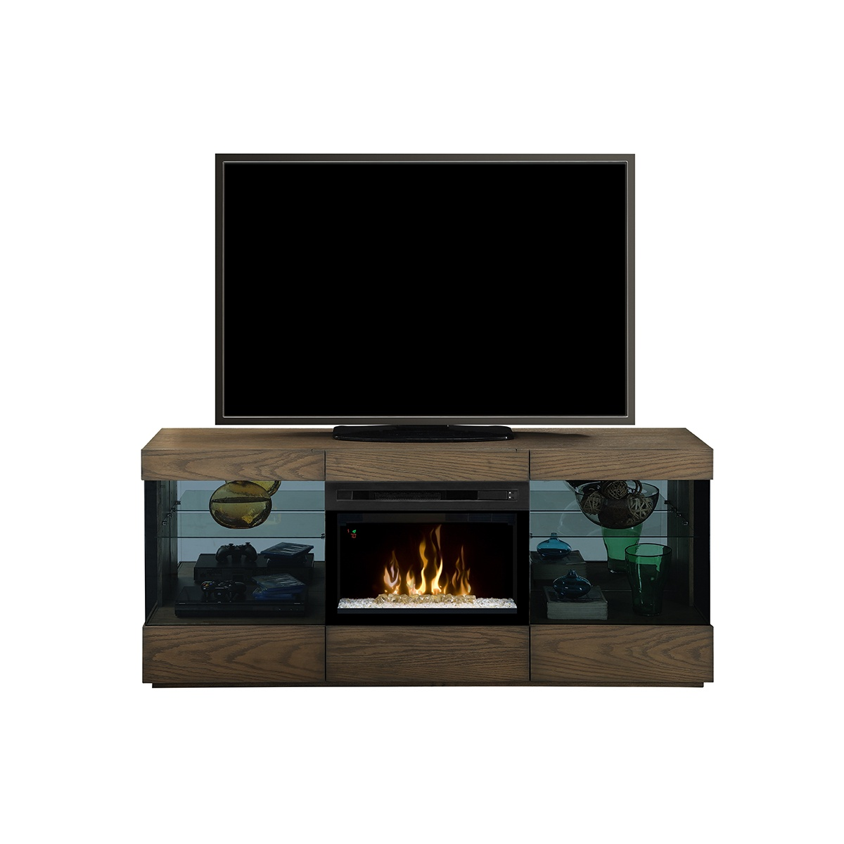 dimplex contemporary electric fireplace with glass embers inserted into a media console