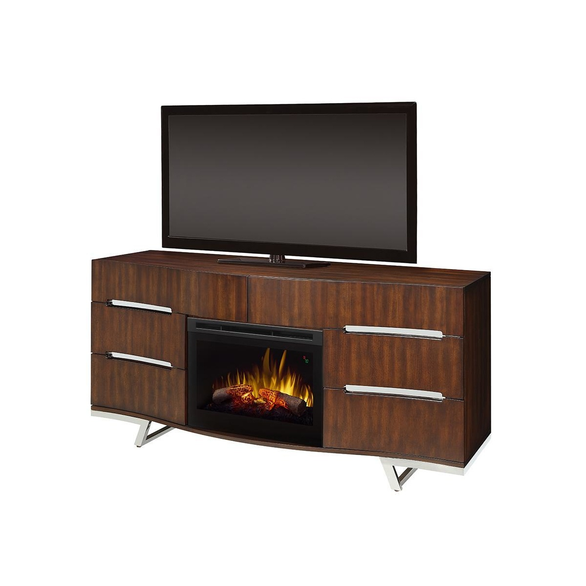 dimplex DFR2551L electric fireplace with logs inside a curved cherry wood-finish media console with large TV on top