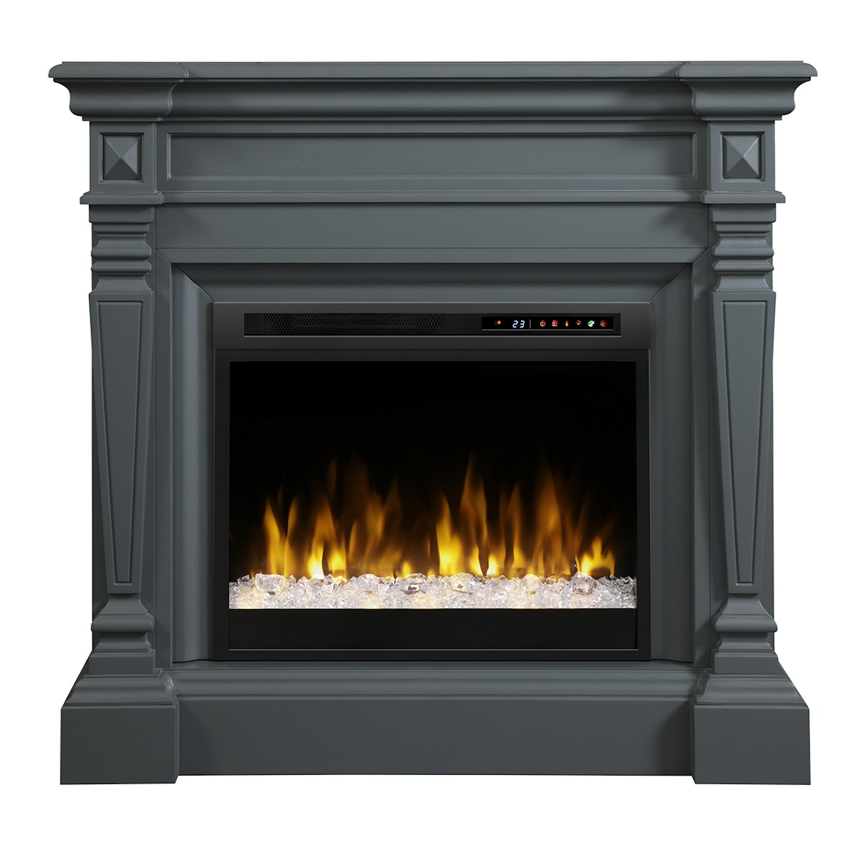 grey wall mantel with electric fireplace insert for transitional spaces