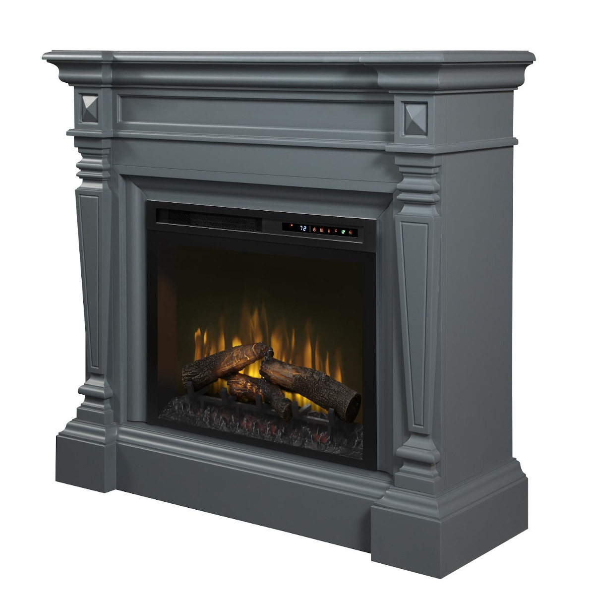 Dimplex grey wall mantel with traditional details and electric fireplace insert with logs