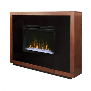 dimplex contemporary electric fireplace with glass embers and cabinet hidden storage