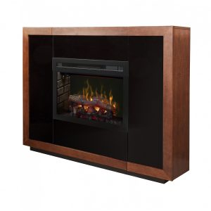 dimplex electric fireplace with logs inserted into a contemporary cabinet with hidden storage