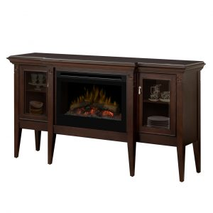 electric fireplace with logs inserted into a dining room cabinet with glass front doors for displaying china and collectibles