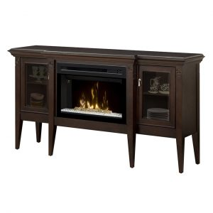 dimplex electric fireplace with glass embers inserted into an espresso wood cabinet with glass doors for displaying china and collectibles