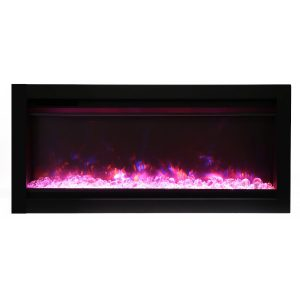 remii 34 inch contemporary electric fireplace with glass embers and pink flame on