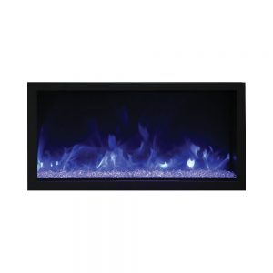remii 45 inches wide extra tall contemporary electric fireplace insert with glass embers, blue and purple flames