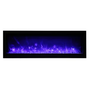 remii 50 inch contemporary electric fireplace with glass embers and purple flames on
