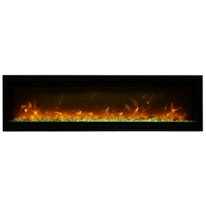 remii wm-60-b contemporary electric fireplace insert with glass ember bed and orange flames on