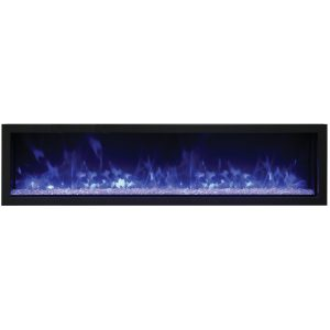 remii 65 inch linear electric fireplace with glass embers and blue violet flame on