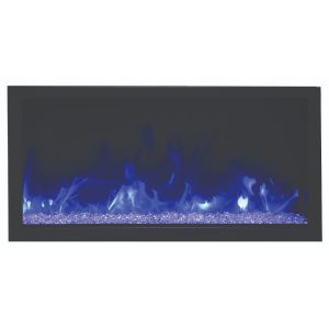 remii 45 inch extra tall contemporary electric fireplace insert with glass ember bed and purple flames on