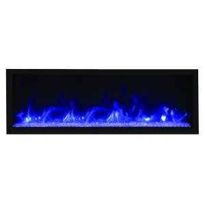 remii 65 inch extra tall contemporary electric fireplace with glass embers and blue flames on