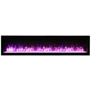 remii wm-74-b contemporary electric fireplace insert with glass embers and pink flames on