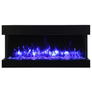 amantii contemporary slim electric fireplace with glass embers and blue flames on