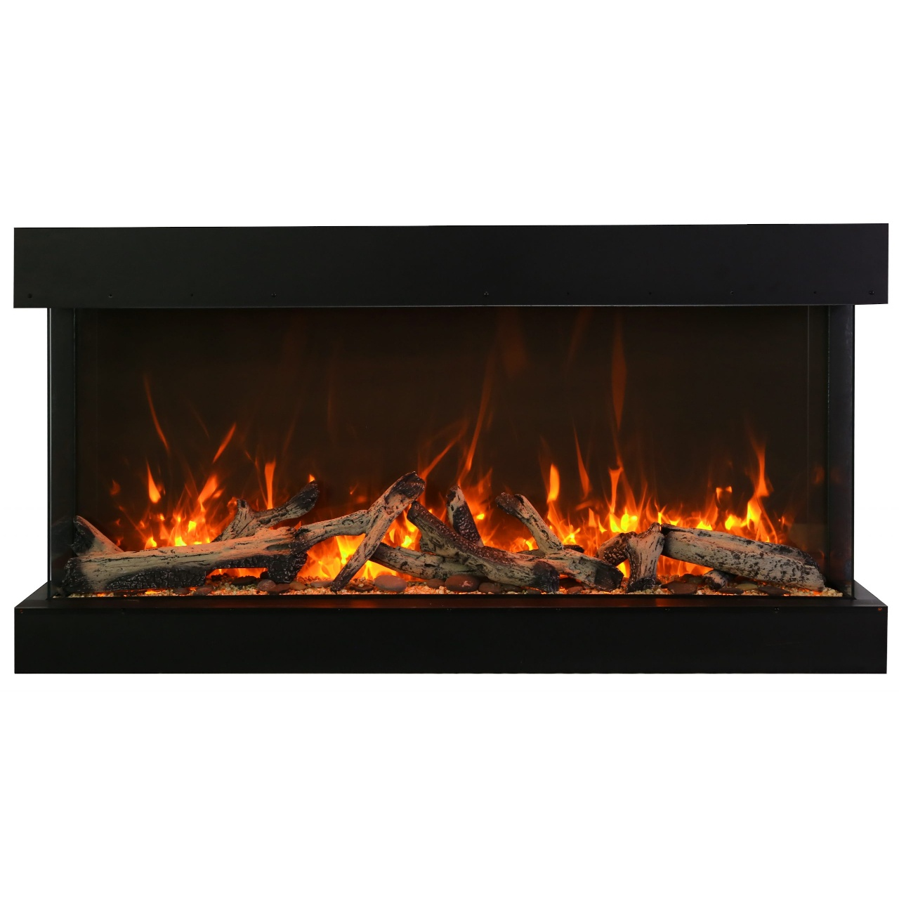 40-inch wide electric fireplace with extra tall glass view opening
