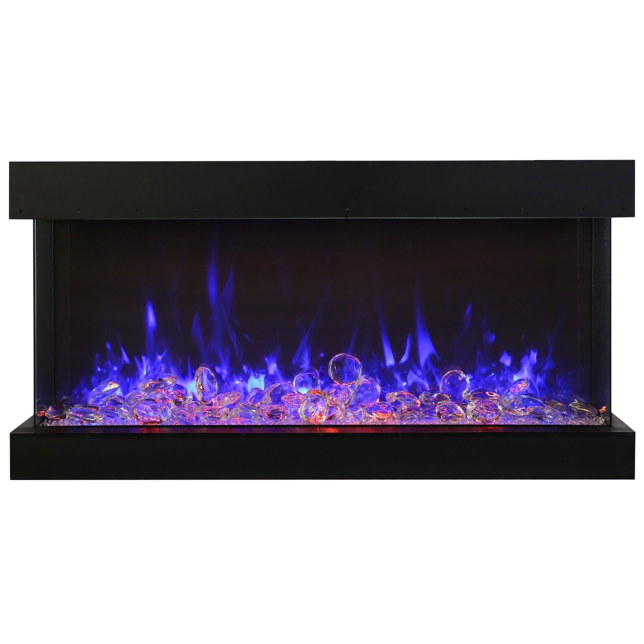 amantii 50-inch electric fireplace with extra tall glass view opening
