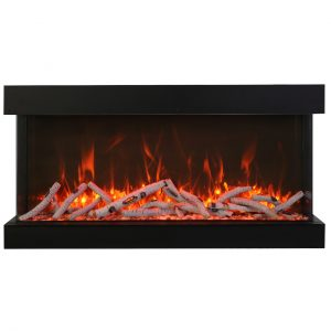 60-inch true view amantii electric fireplace that is extra tall and extra deep pictured with 15 pieces of birch wood and orange flames on