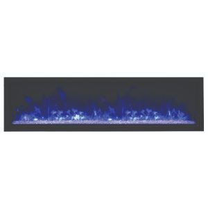 amantii 60-inch linear contemporary electric fireplace with glass embers and purple flames on
