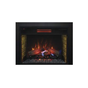 28 inch infrared electric fireplace with traditional logs and black finishing trim