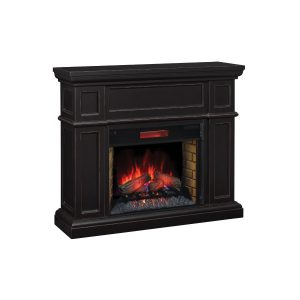 classic flame traditional logs electric fireplace wall mantel in black finish