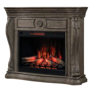 traditional 55 inch electric fireplace wall mantel with 33-inch infrared fireplace insert