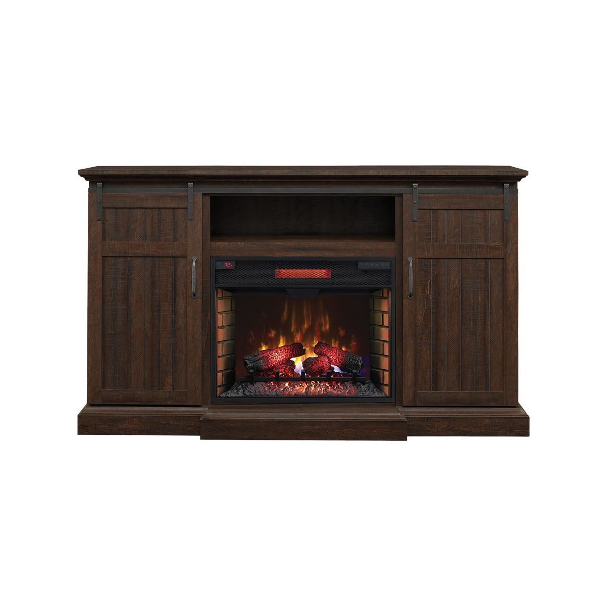 electric fireplace media cabinet with sliding barn doors in espresso wood finish