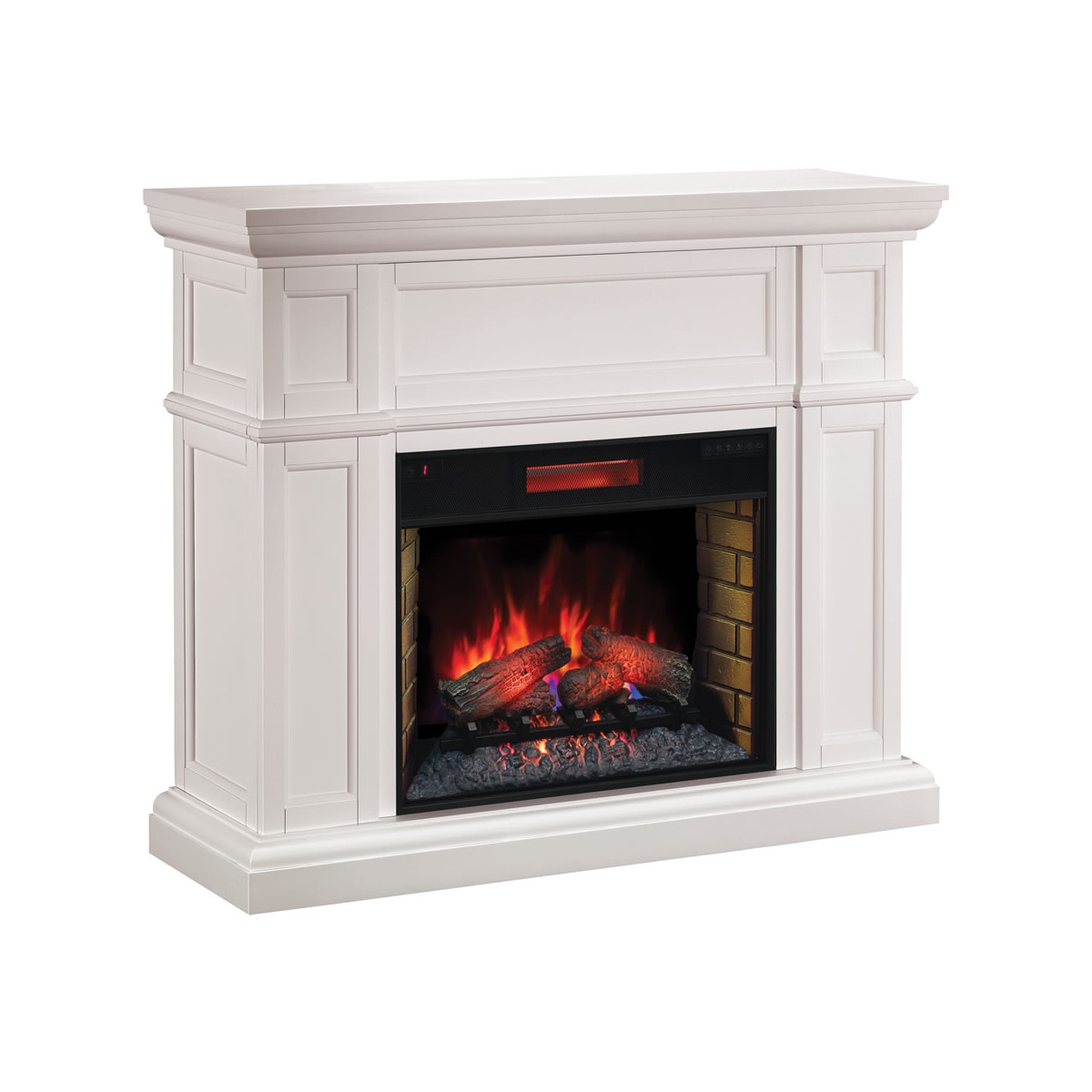 artisan white wall mantel with electric fireplace insert