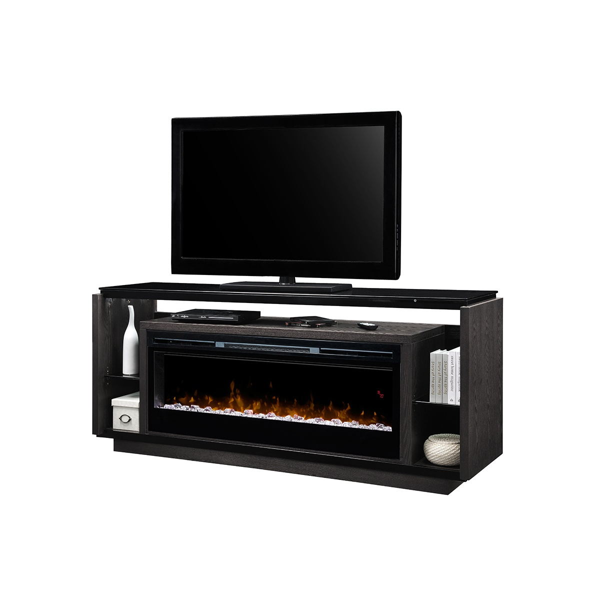 media console with linear electric fireplace