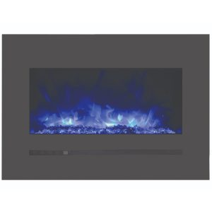 amantii sierra flame modern 26 inch electric fireplace with steel charcoal grey surround