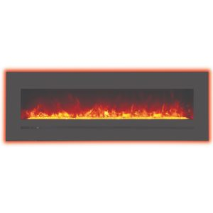60 inch amantii sierra flame linear electric fireplace with orange back lighting on