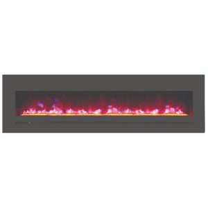 72 inch amantii sierra flame linear electric fireplace with crystal clear media and pink flame lights
