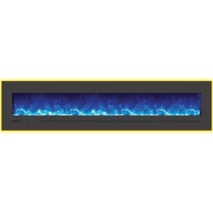 88 inch amantii sierra flame linear electric fireplace with yellow back mood lighting on