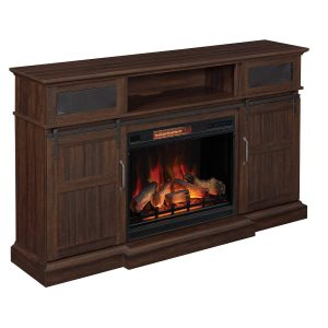 classic flame espresso wood dark finish media console with speakers and electric fireplace