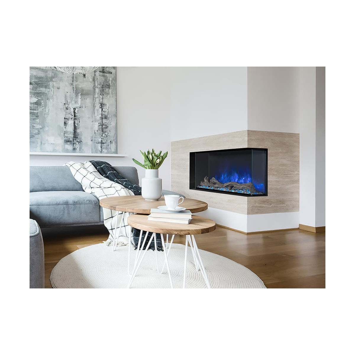modern flames 44 inch linear electric fireplace installed in a wall with left corner open sided