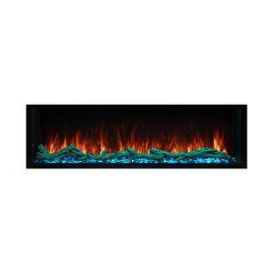 modern flames linear electric fireplace with logs and flame