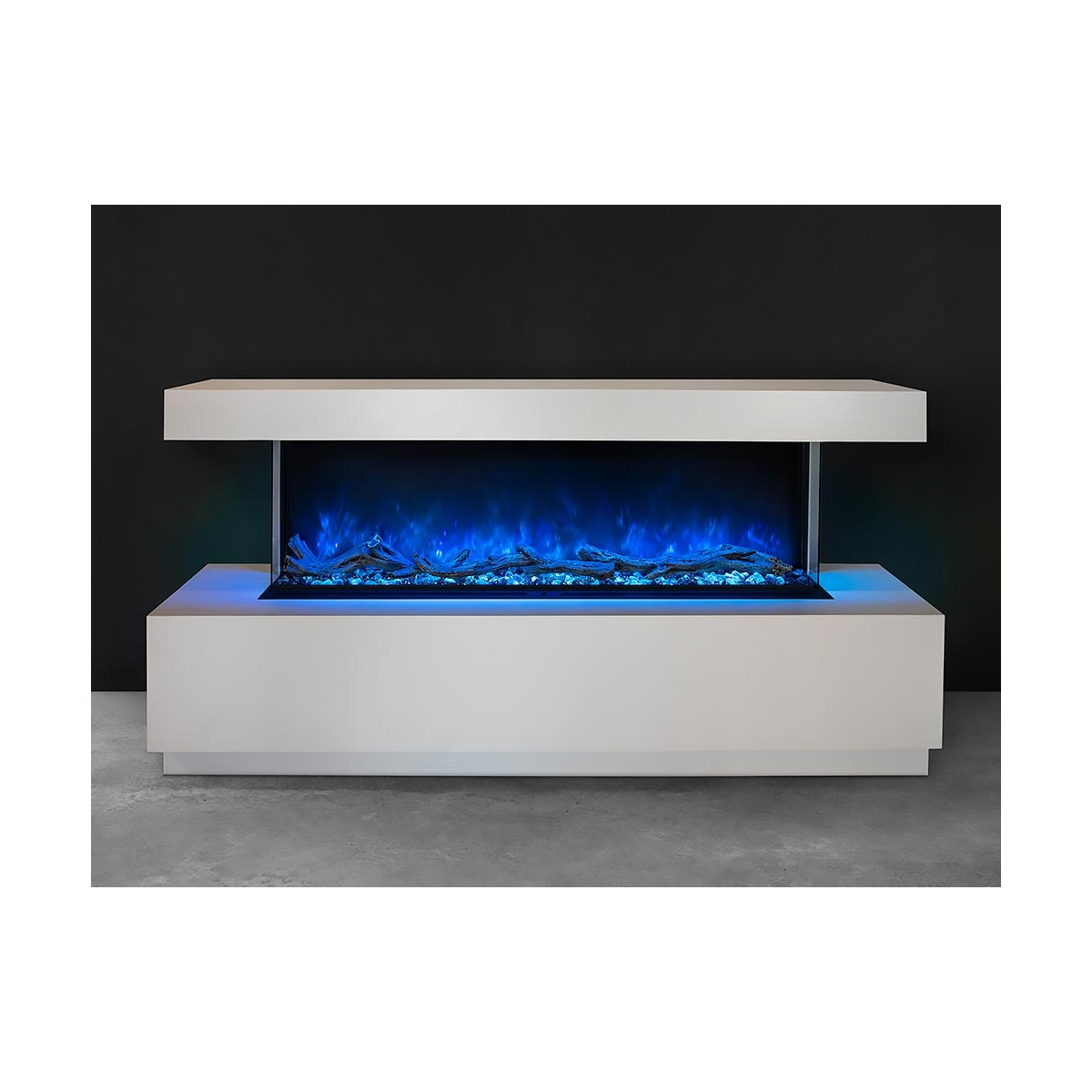 modern flames 56 inch electric fireplace inserted into a white floor cabinet