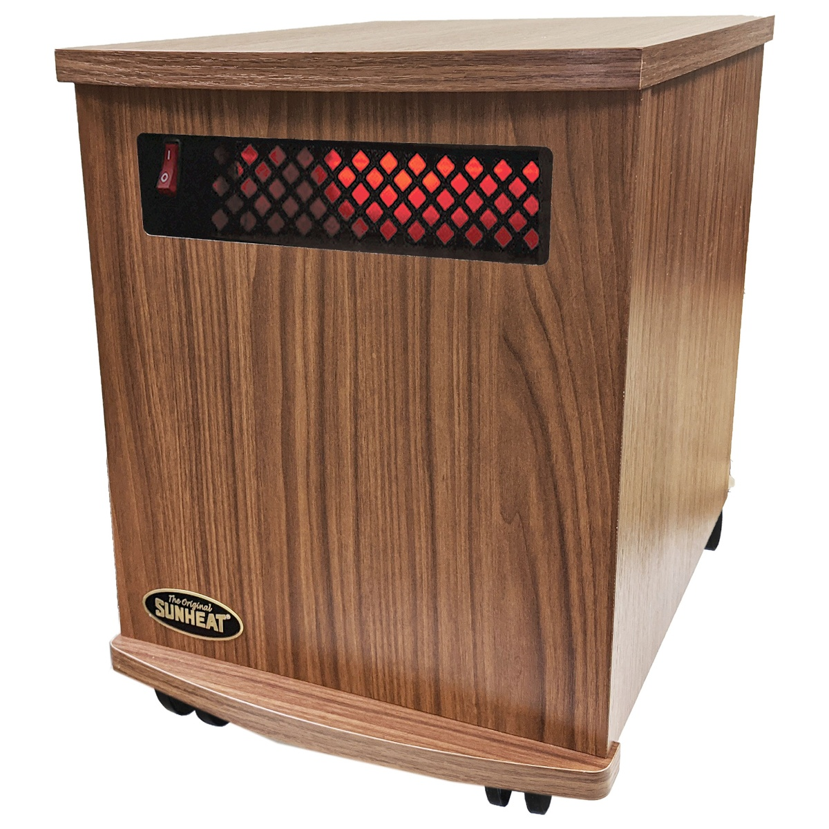 American Made Infrared Cabinet Portable Heater on Rollers by SUNHEAT USA1500-M American Walnut
