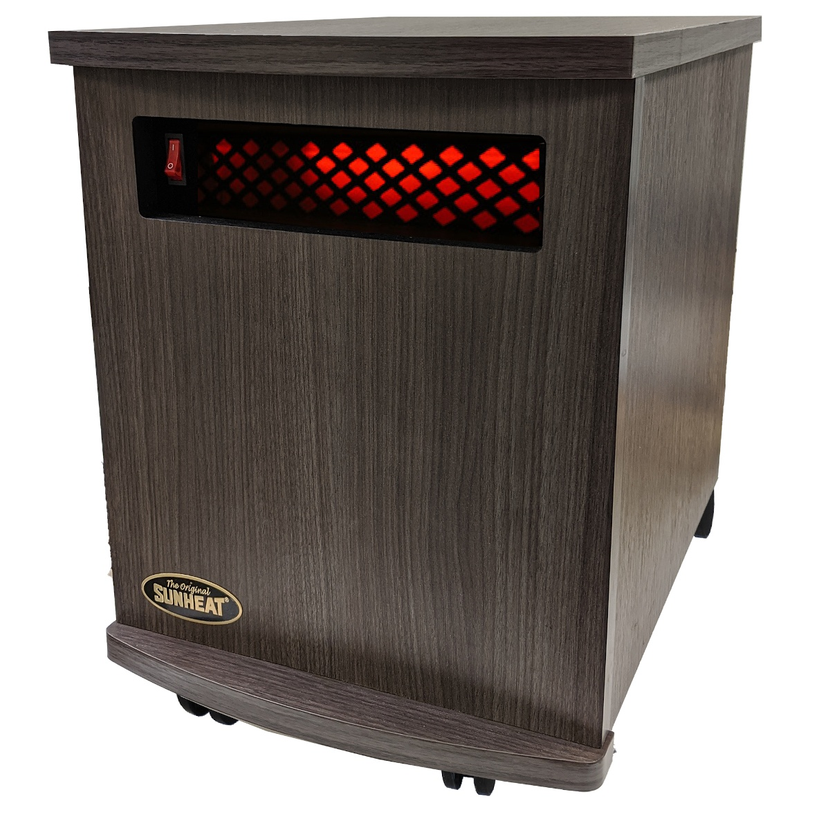 American Made Infrared Cabinet Portable Heater on Rollers by SUNHEAT USA1500-M Charcoal Grey Walnut Finish