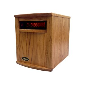 American Made Solid Oak Cabinet Infrared Heater SUNHEAT International Amish Nebraska Oak Stain
