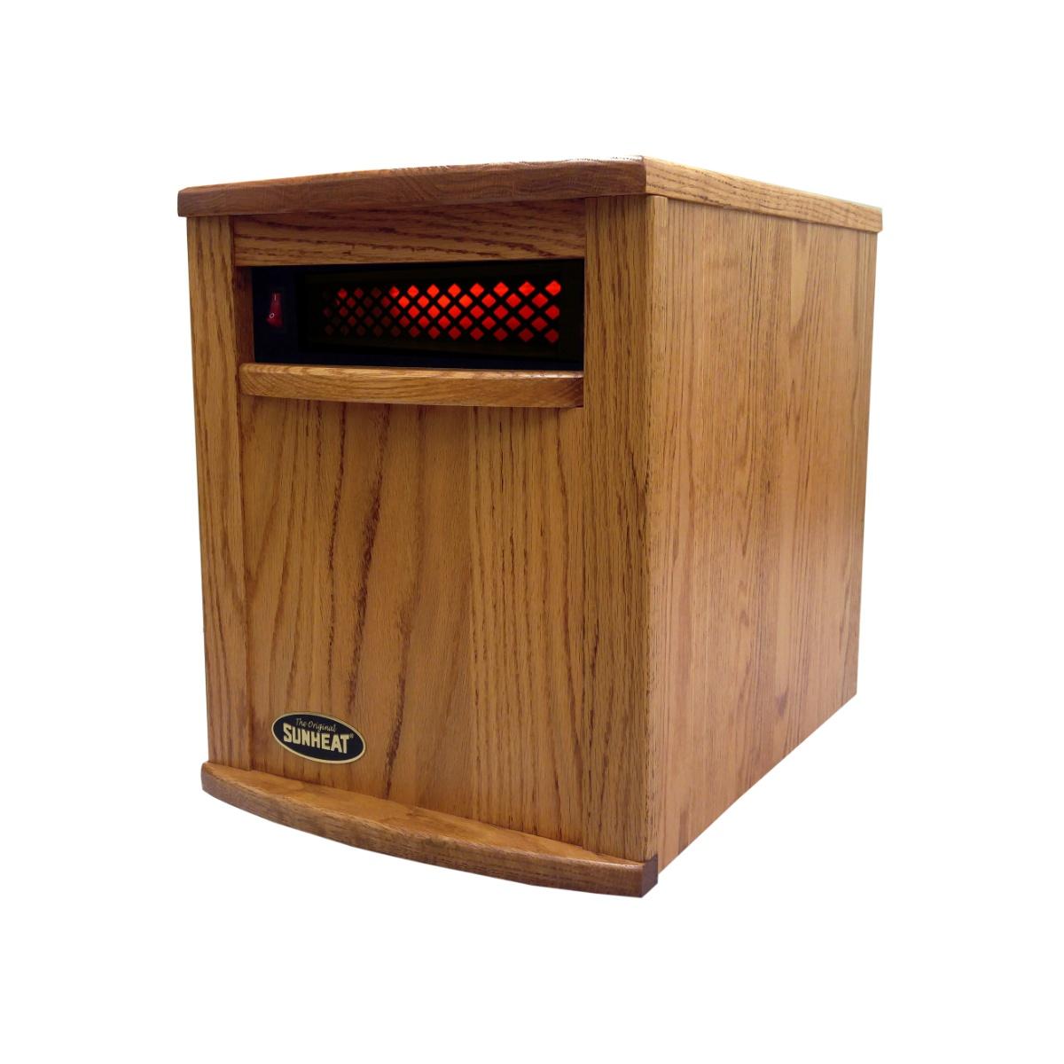 American Made Solid Oak Cabinet Infrared Heater SUNHEAT International Amish Nebraska Oak Stain