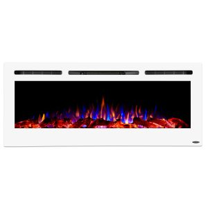 sideline 50 inch white framed electric fireplace with flames and heat