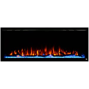 Touchstone 50 inch Linear Electric Fireplace with Log and Crystals Orange Flame On