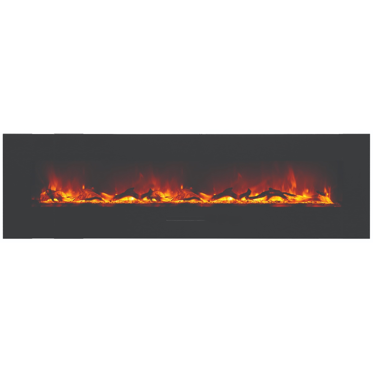 amantii 72 inch linear electric fireplace with orange flame effects and logs