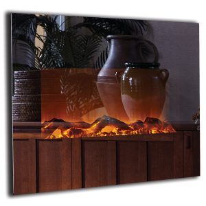 touchstone mirror fireplace with logs and flames turned on